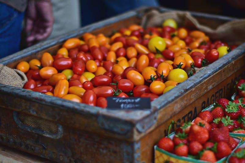 Tomater och jordgubbar i mängder.