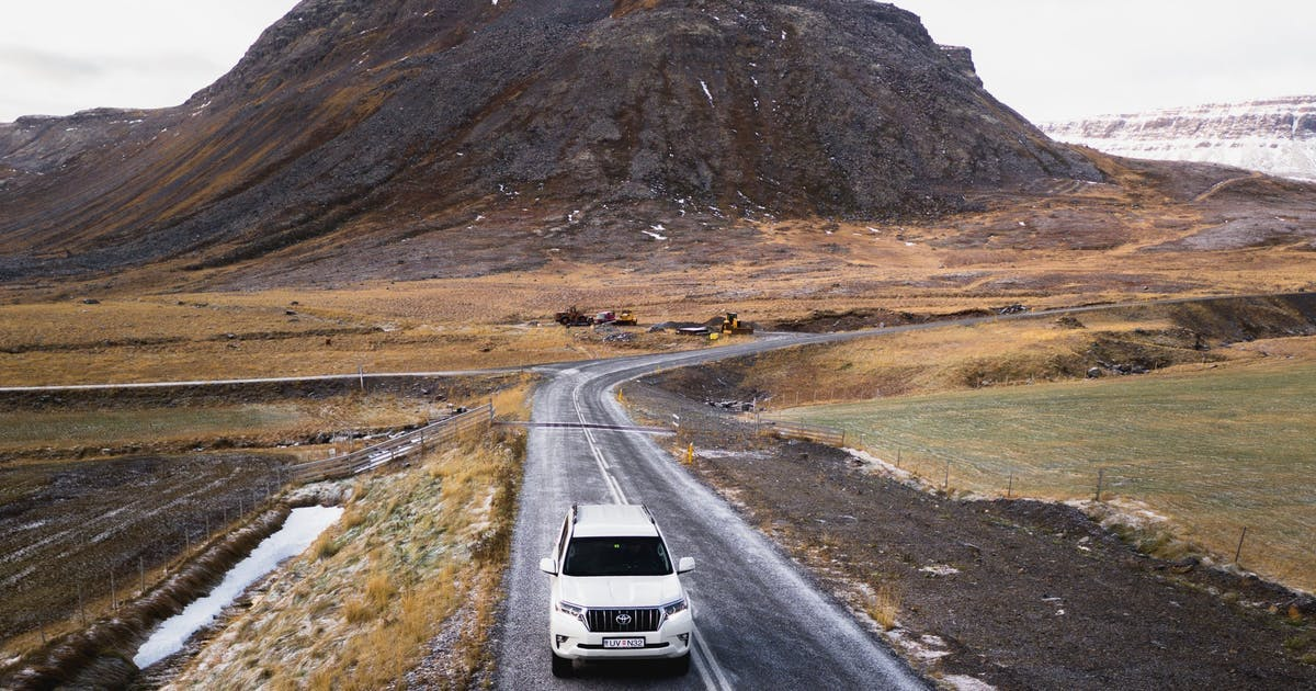 Car driving on a road in Iceland