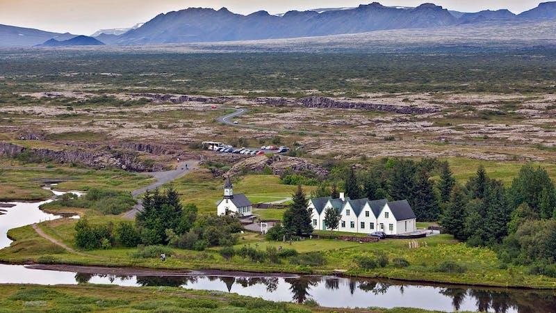 Thingvellir church and Oxara river