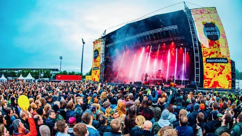 People gathered on Secret solstice festival in Iceland in 2019