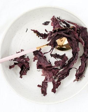 dried dulse on a plate