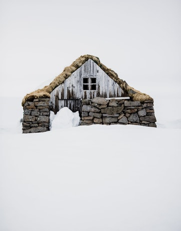 snowed in old house in Iceland