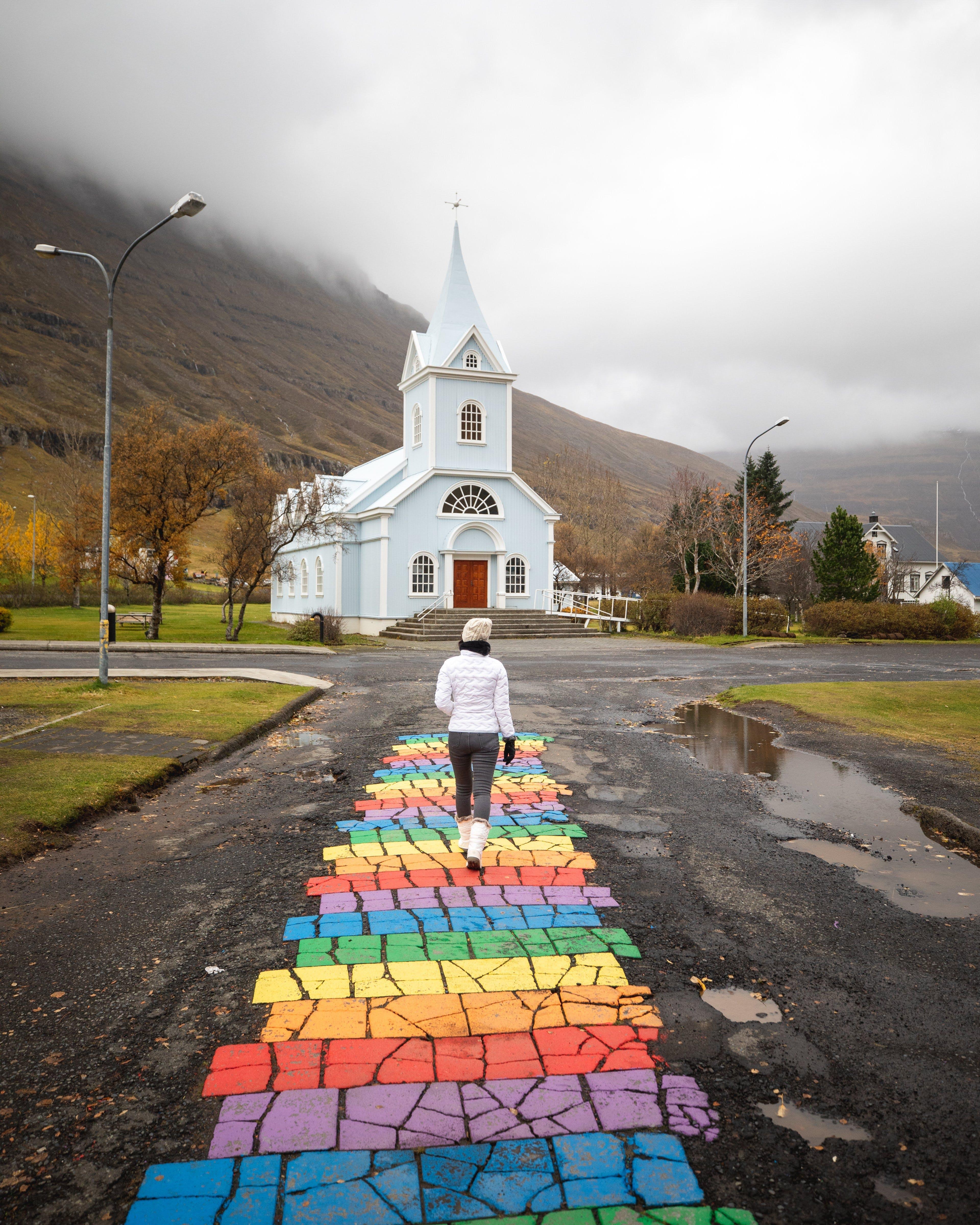 Rainbow street in Seyðisfjörður, East Iceland