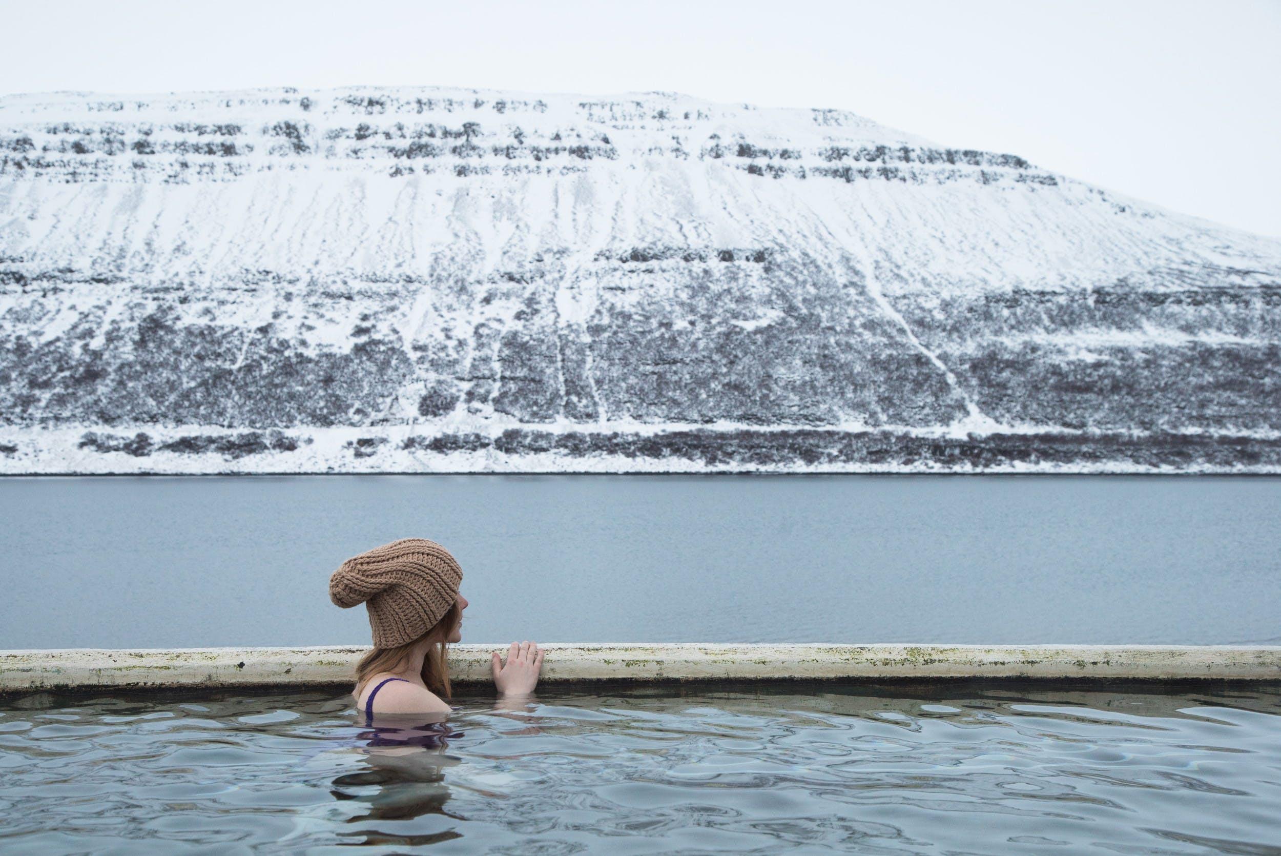 Woman in Horgshlidarlaug swimming pool