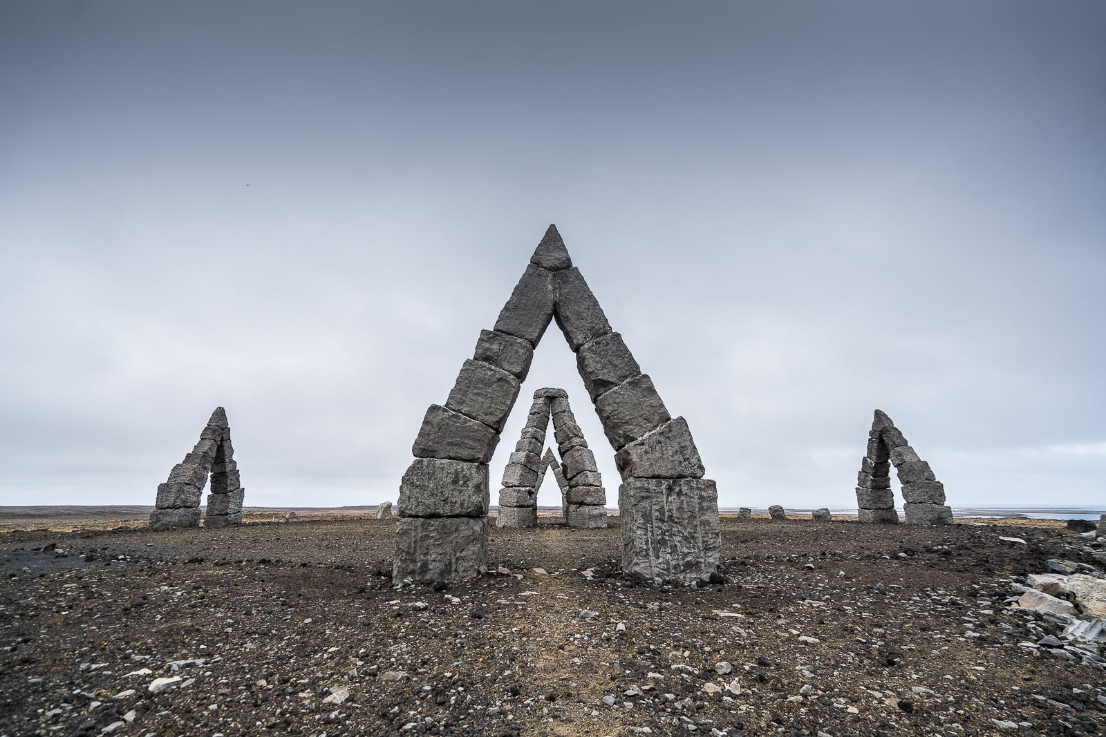 Arctic stone henge in North Iceland