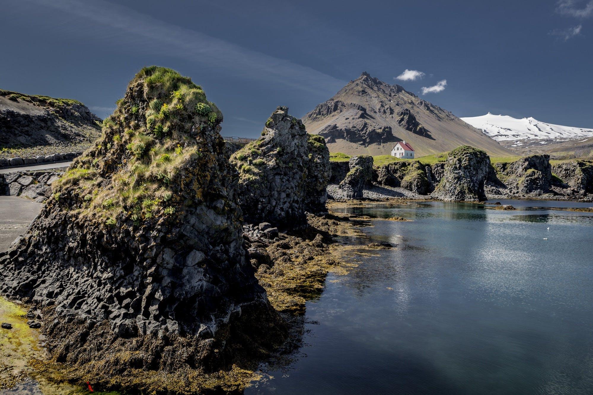 The beautiful columnar basalt formations on the coastline of Arnarstapi