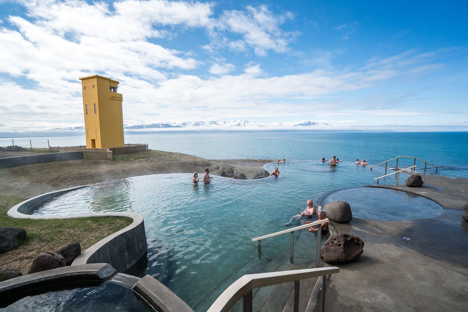 Relaxing at GeoSea in Húsavík