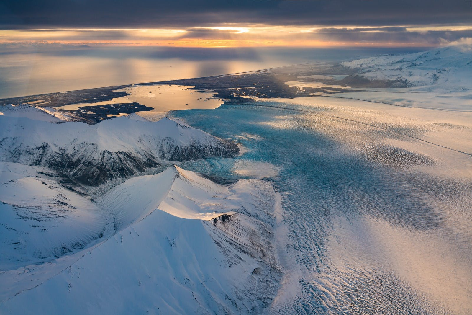 Aerial photo of Vatnajokull glacier