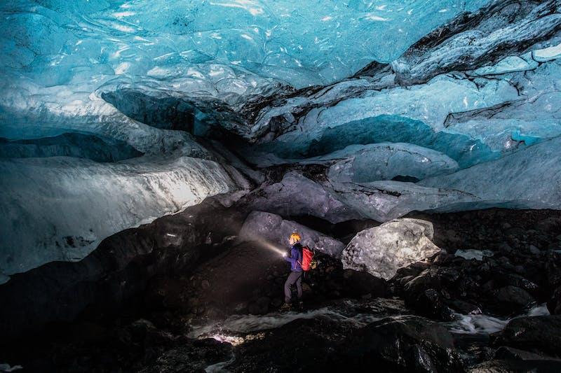 A man exploring a cave