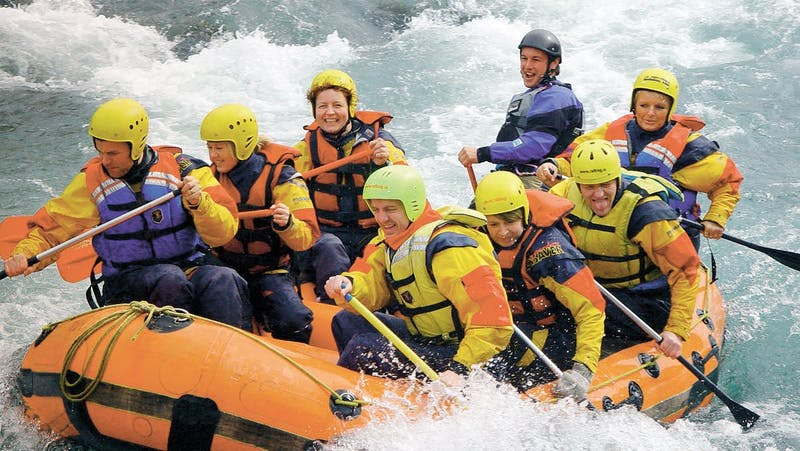 People river rafting in Iceland