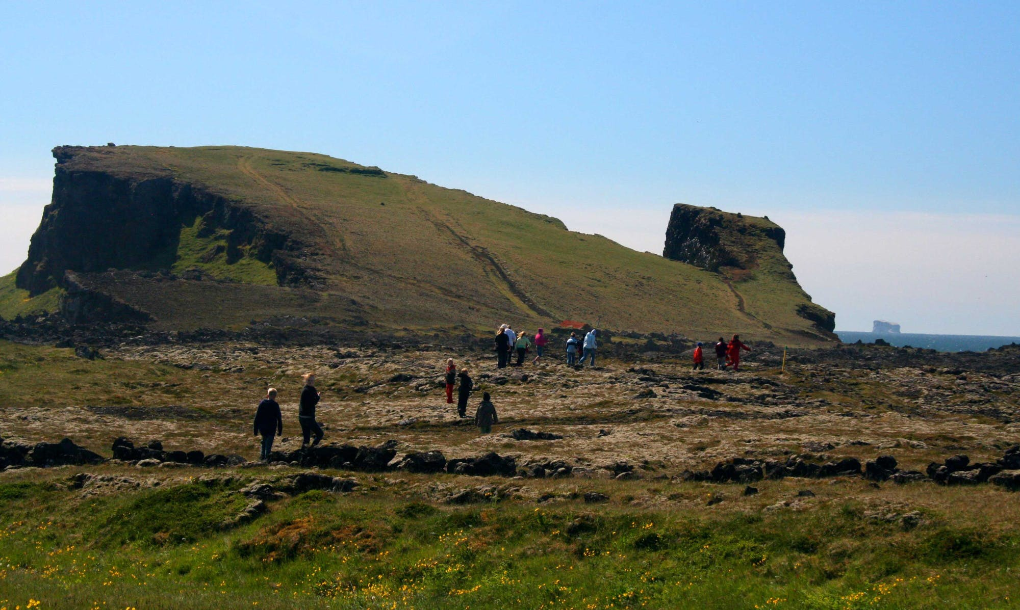 People hiking on Reykjanes peninsula