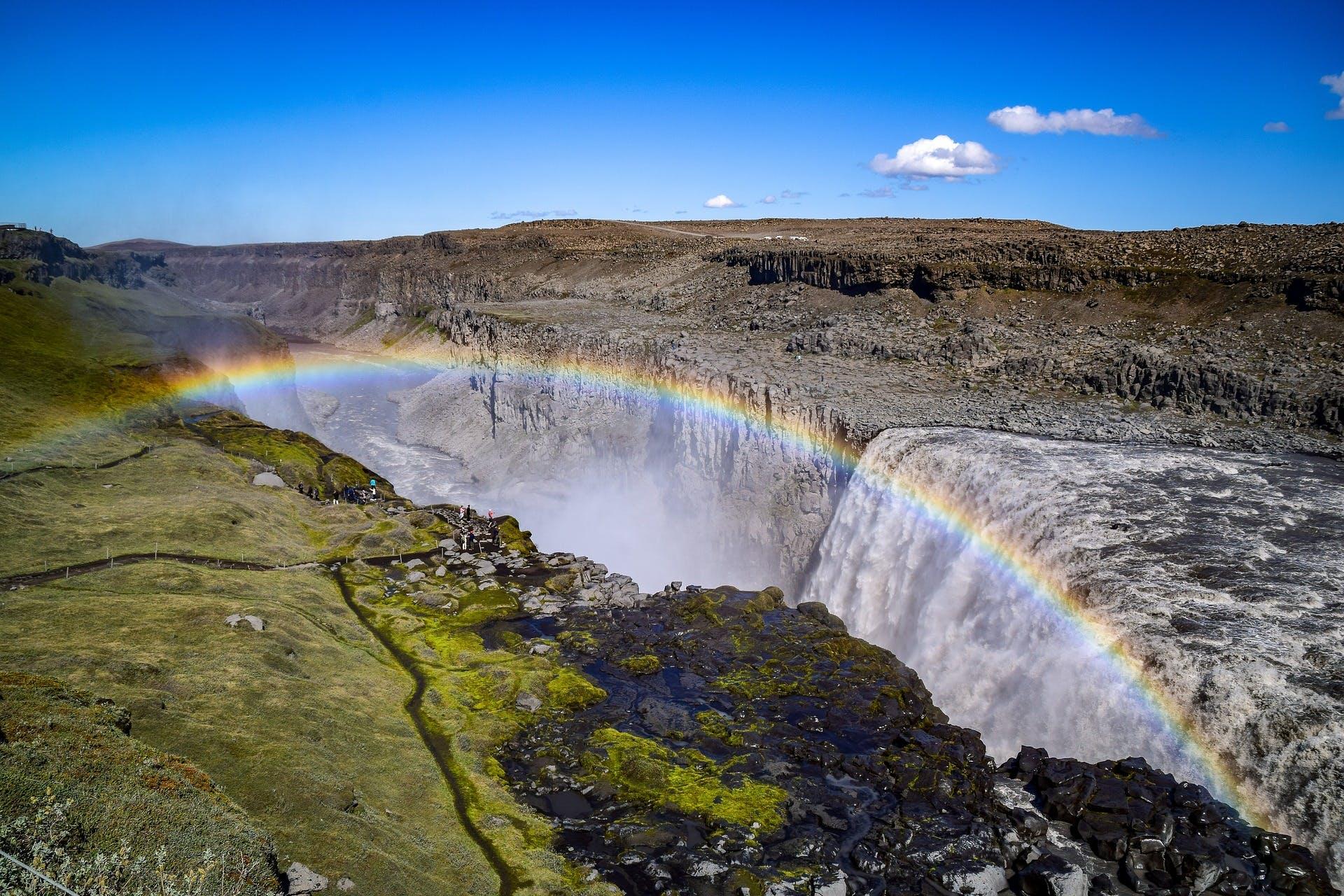 Rainbow over Dettifoss waterfall