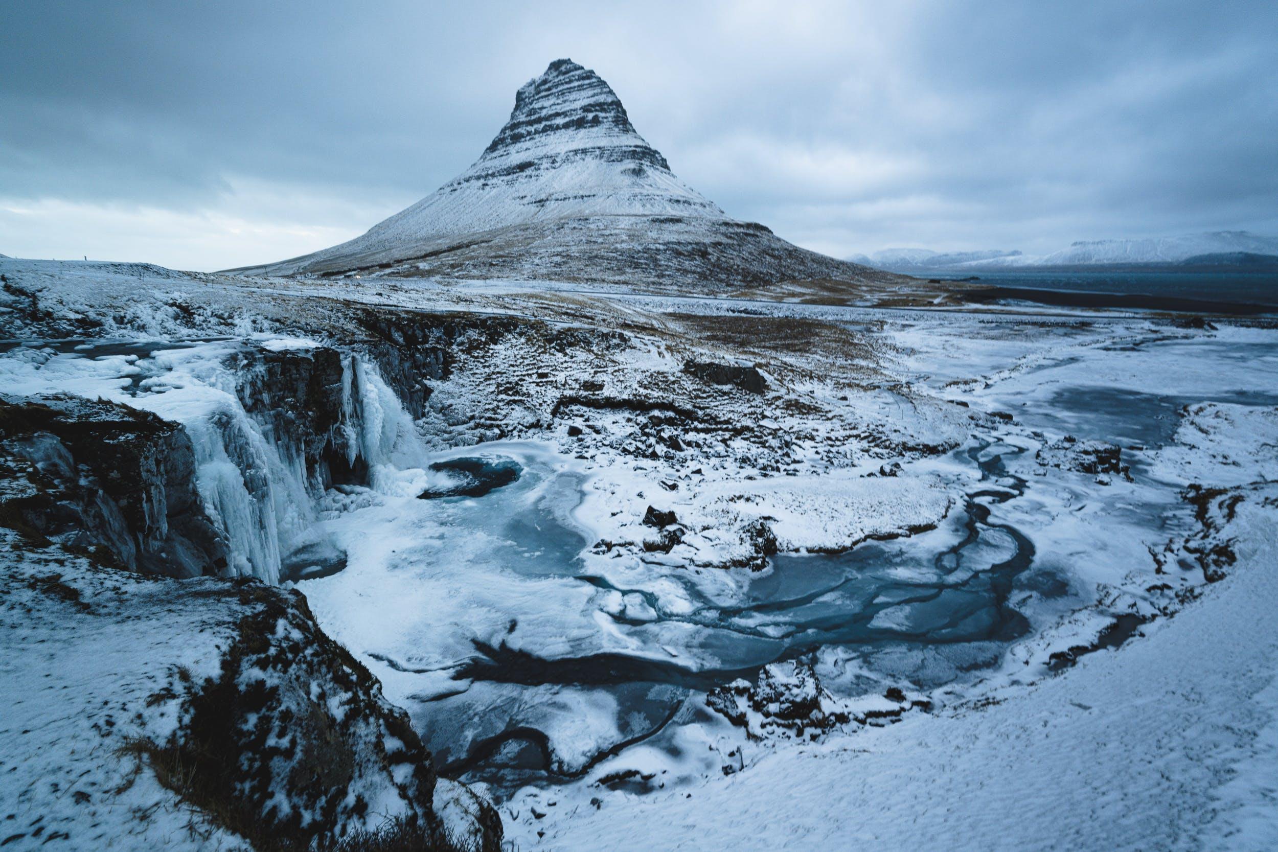 Kirkjufell mountain in snow