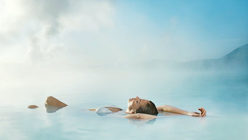 Woman relaxing in the Blue lagoon