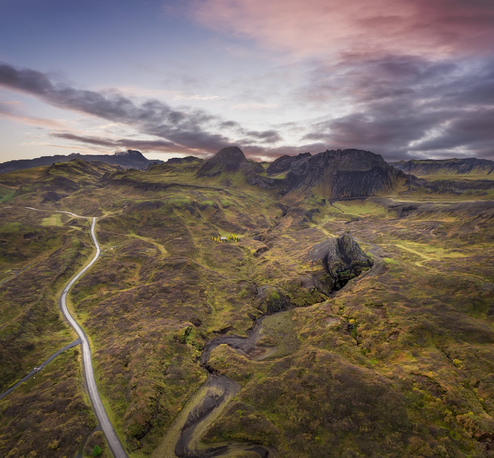 Lava fields and mountains in Iceland