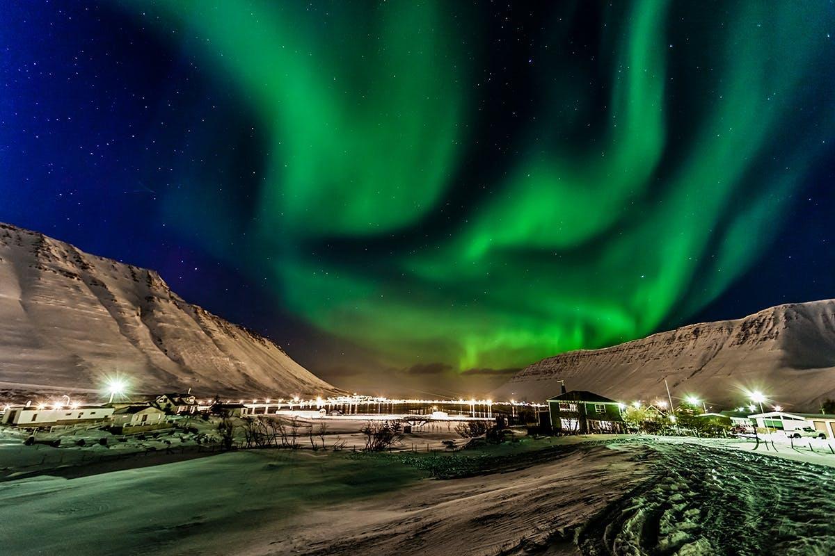 Northern lights over Ísafjordur town