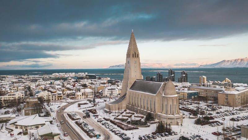 Reykjavik city in winter