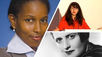 A gauche, Ayaan Hirsi Ali, en haut à droite Zineb El Rhazoui et en bas à droite Ayn Rand