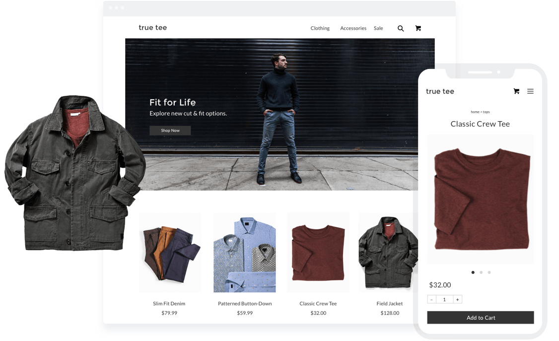Sell clothes online through your own ecommerce store.