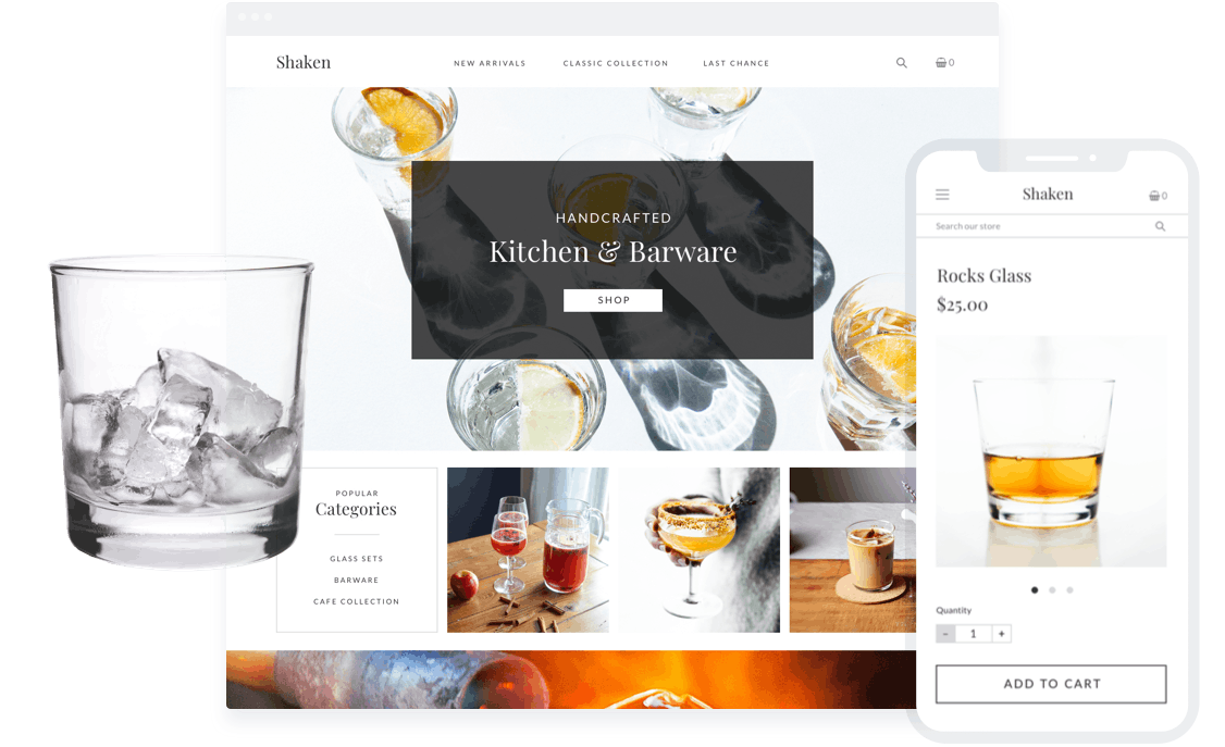Sell glassware online with your own ecommerce store.