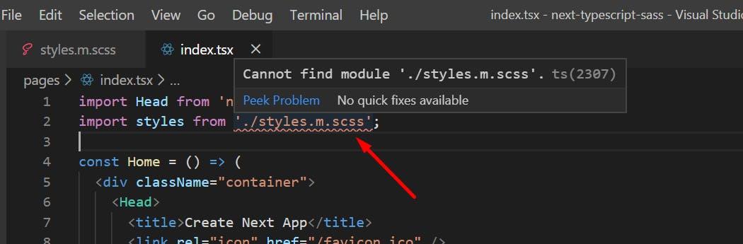 scss typescript error