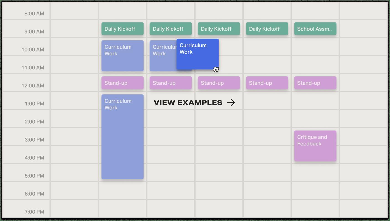 Calendar showing flexible schedule