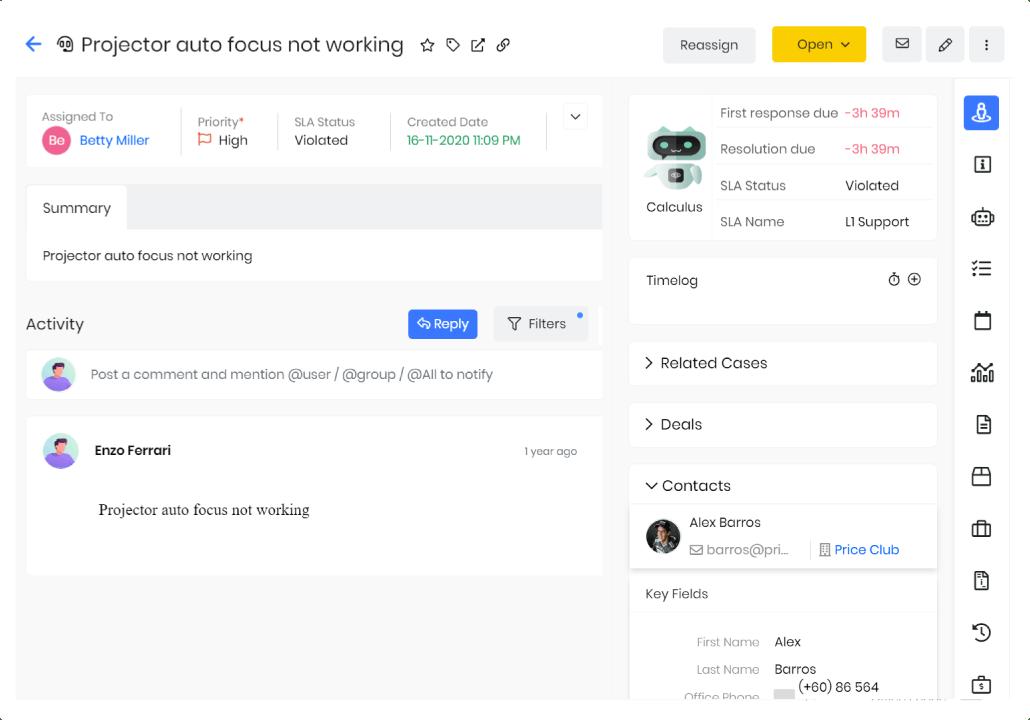 schermata dell'helpdesk