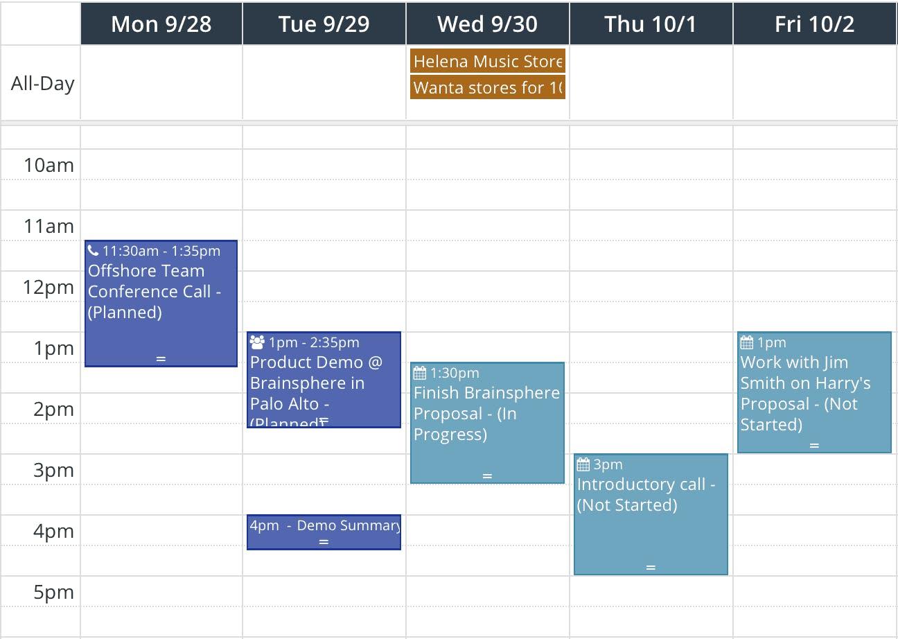 Planification d'événements dans le calendrier
