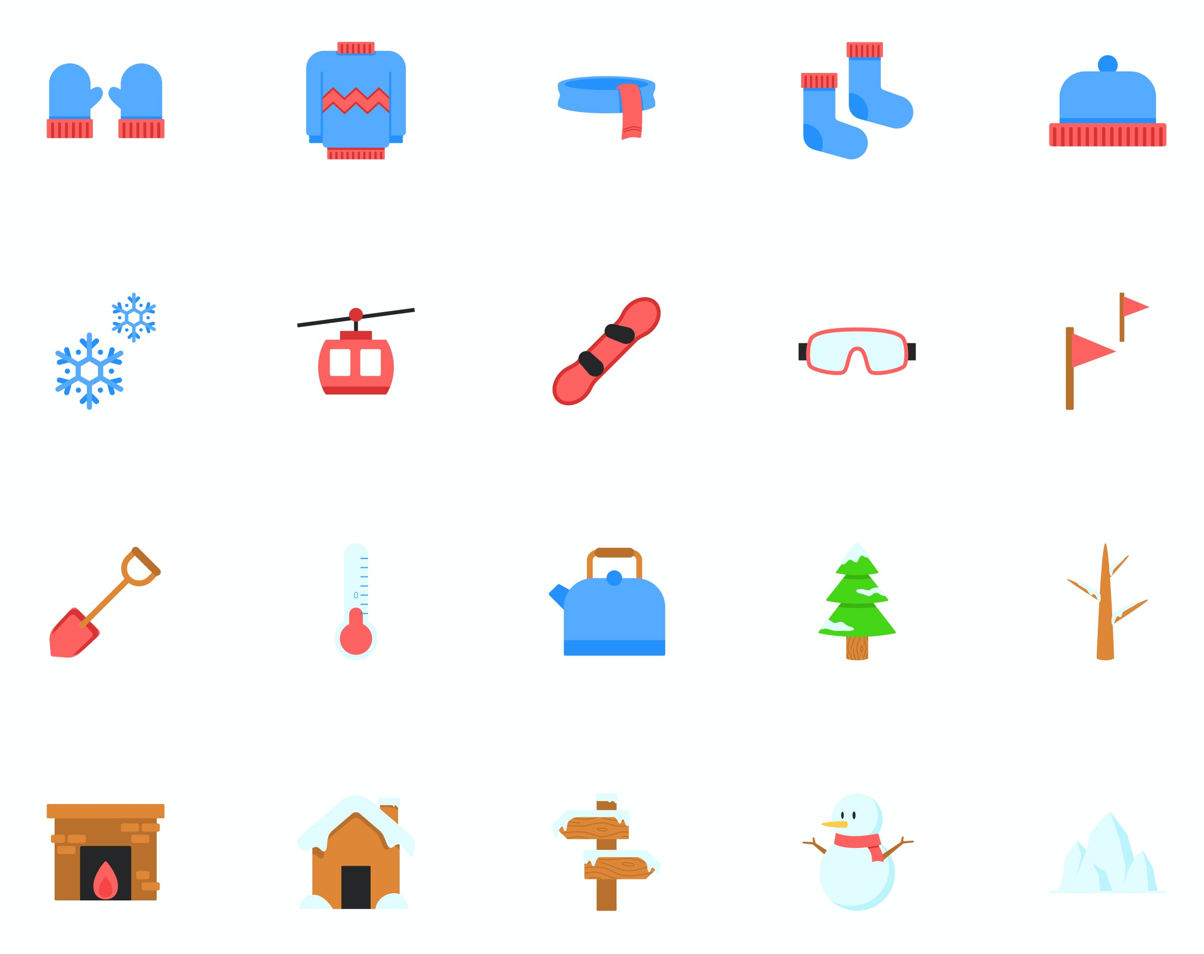 25 flat icons representing items like mittens, snow, and a fireplace.