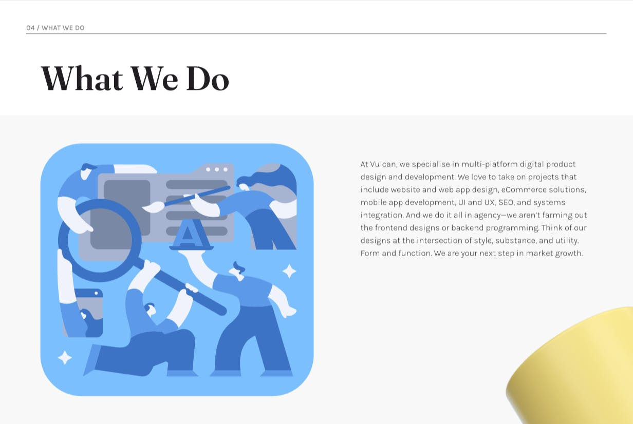 """An illustration of people using tools on a file folder under the headline """"What We Do."""""""