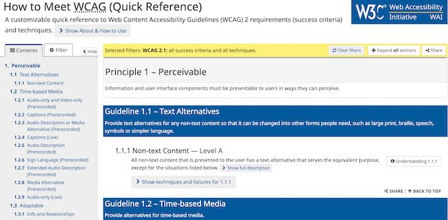 Screenshot of the WCAG Quick Reference web page