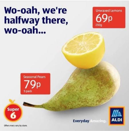 """A lemon sits atop a pear with the words """"Wo-oah, we're halfway there, wo-oah..."""""""