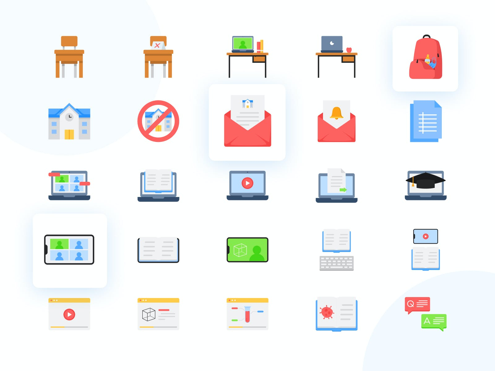 Flat view of the 25 Online Learning icons