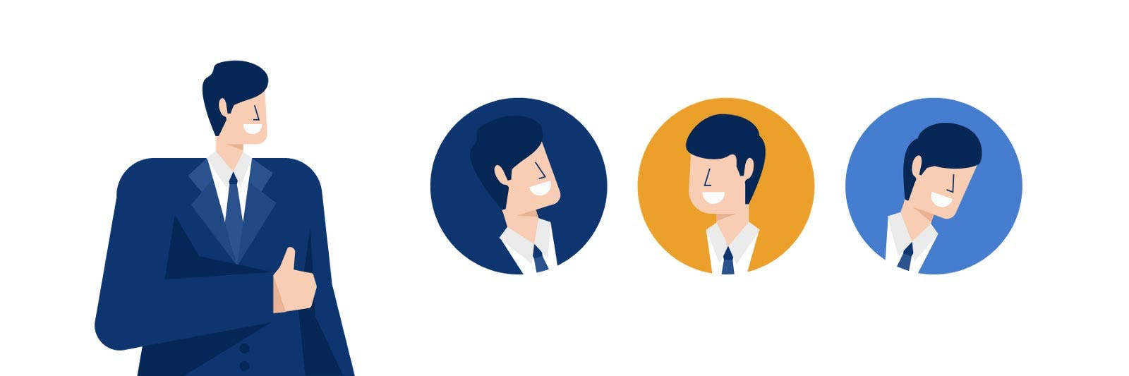 Illustration of multiple avatar faces