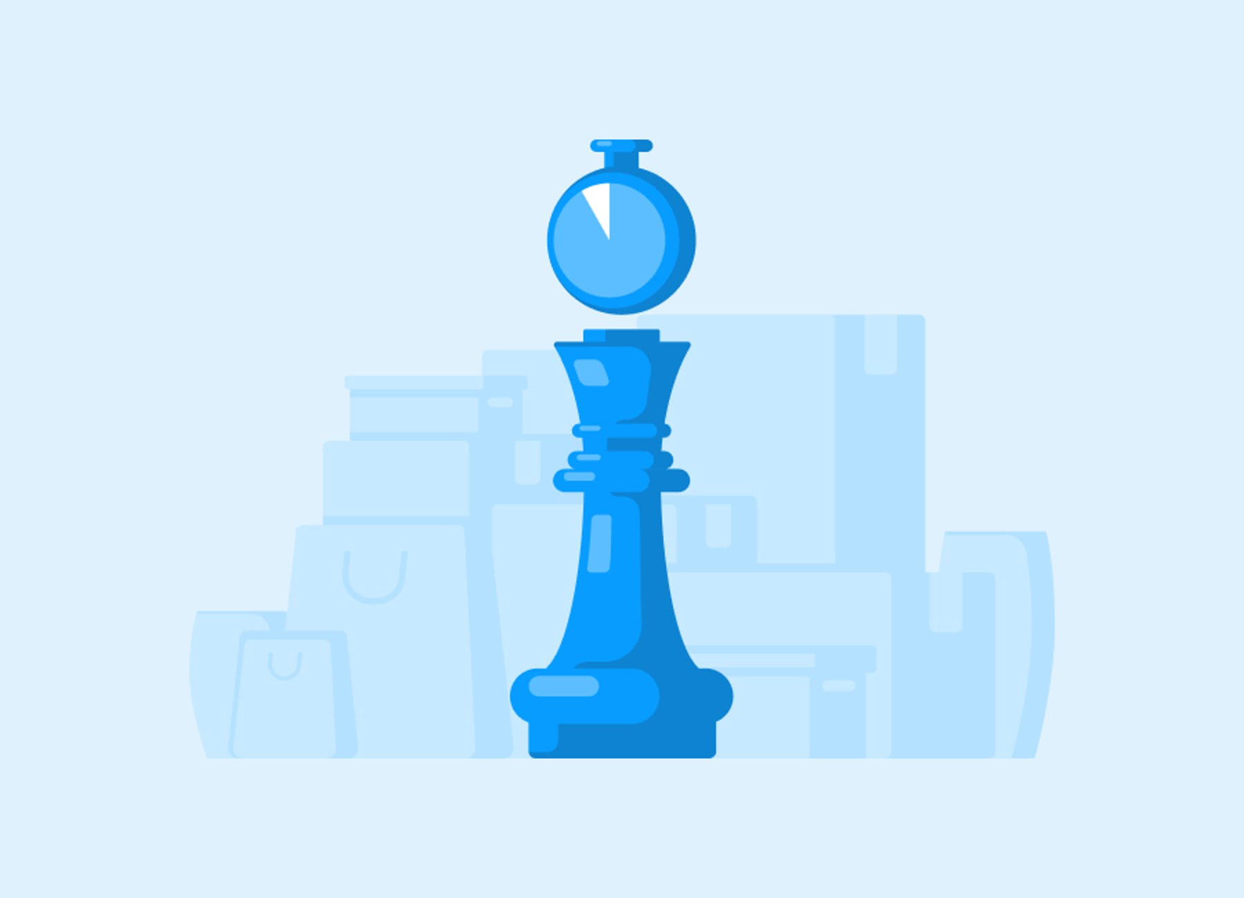 An illustration of a chess pawn beneath a stop watch on a pale blue background.