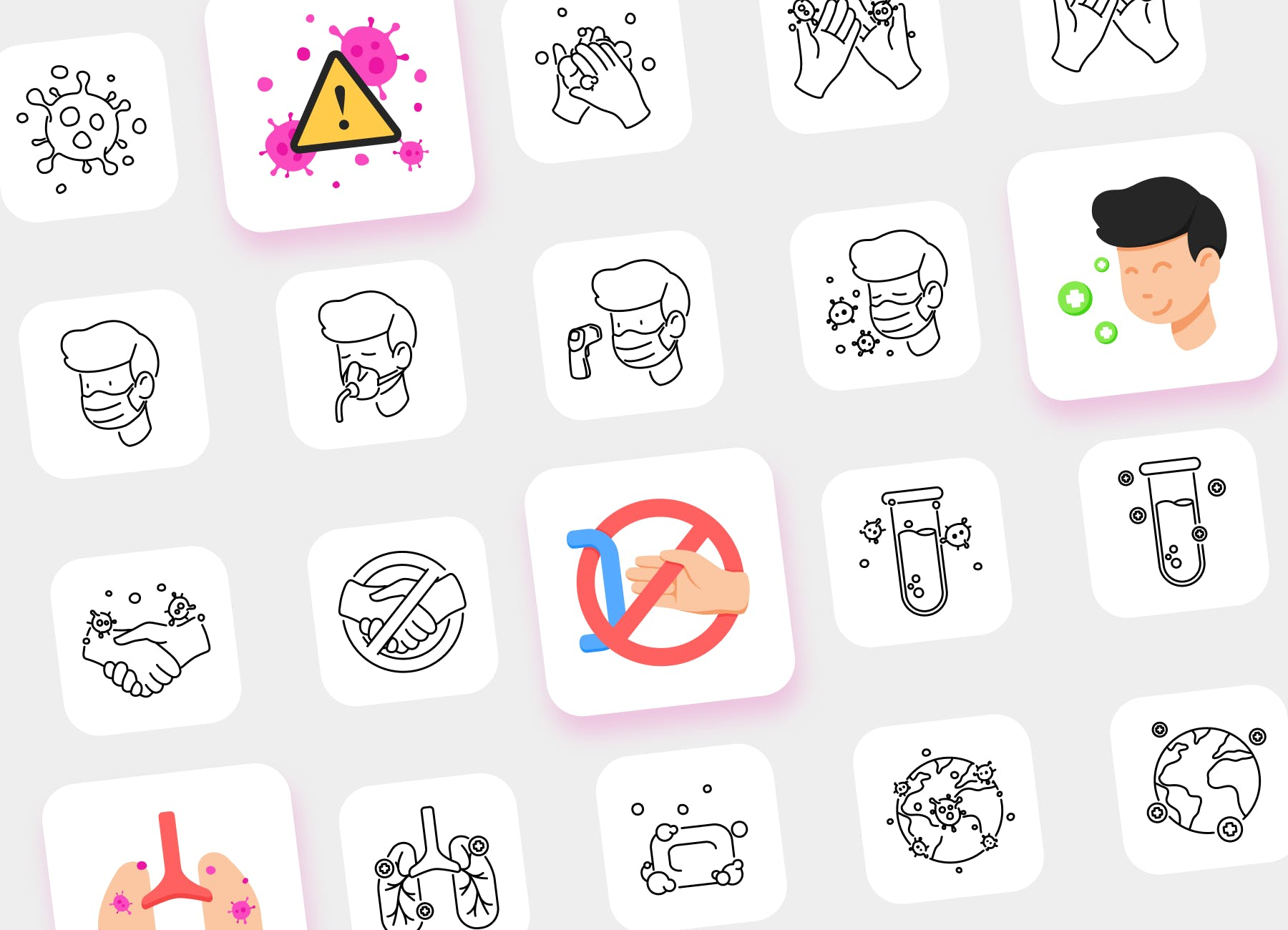 Preview of Covid-19 Icon Pack illustrations