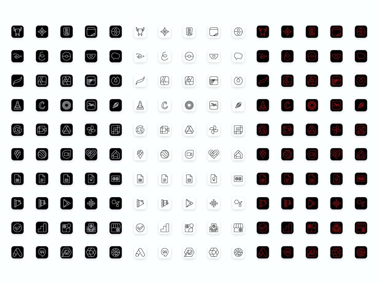 50 new custom icons for Lucid Premium in black, white, and scarlet colorways, including Google Suite icons.
