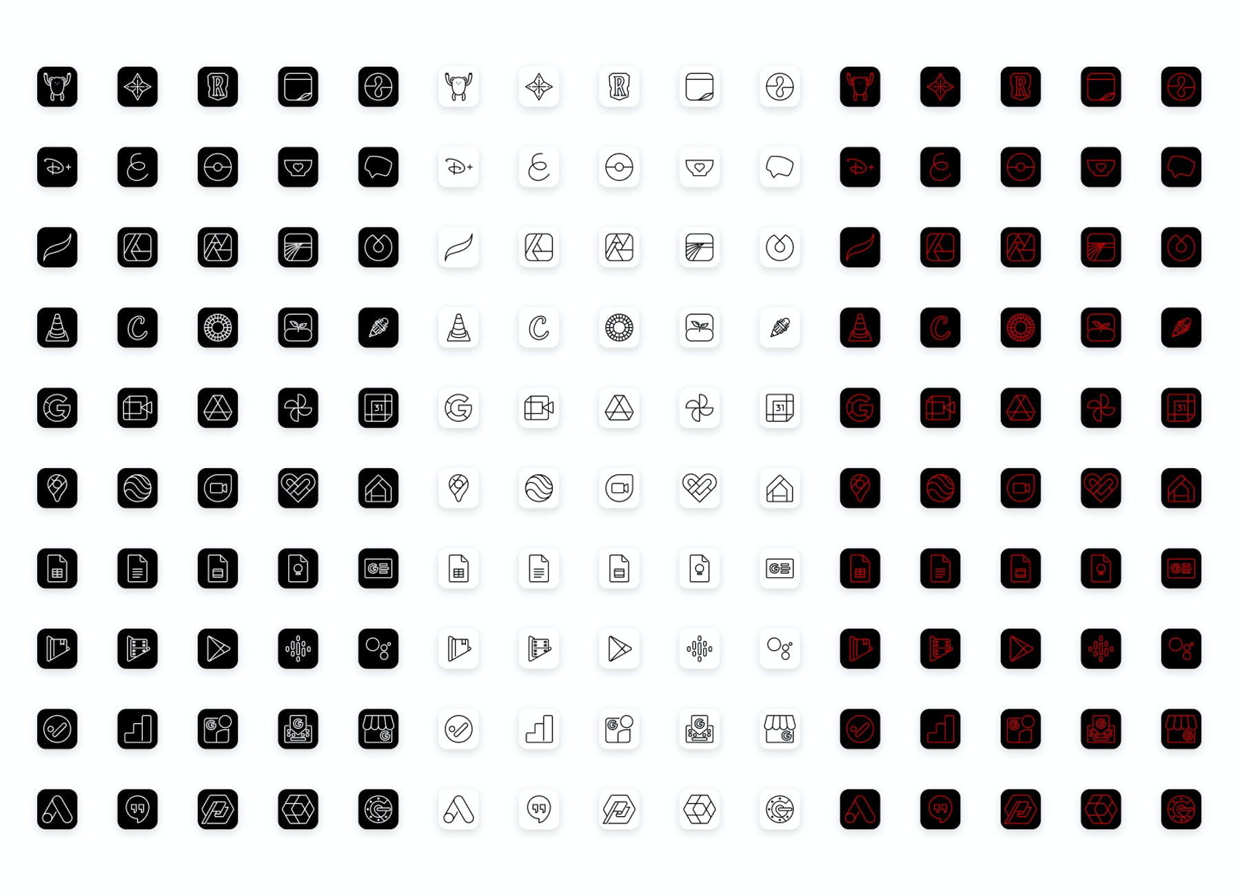 50 new custom iOS designs for the Lucid Premium icon pack, in black, white, and scarlet.