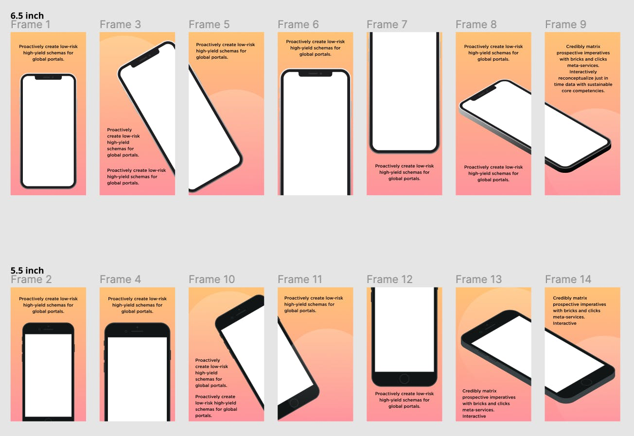 Sample of the mobile app screenshot templates.