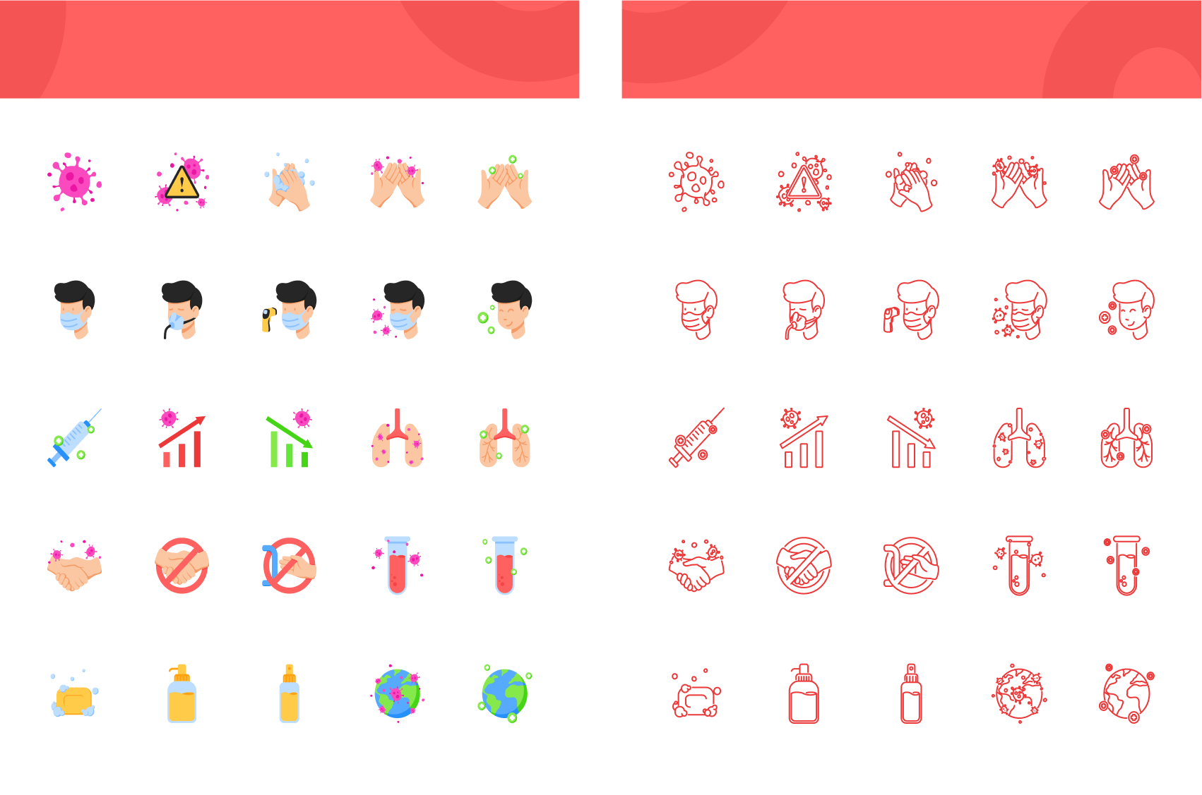 Flat and line art icons in the Covid-19 Icon Pack