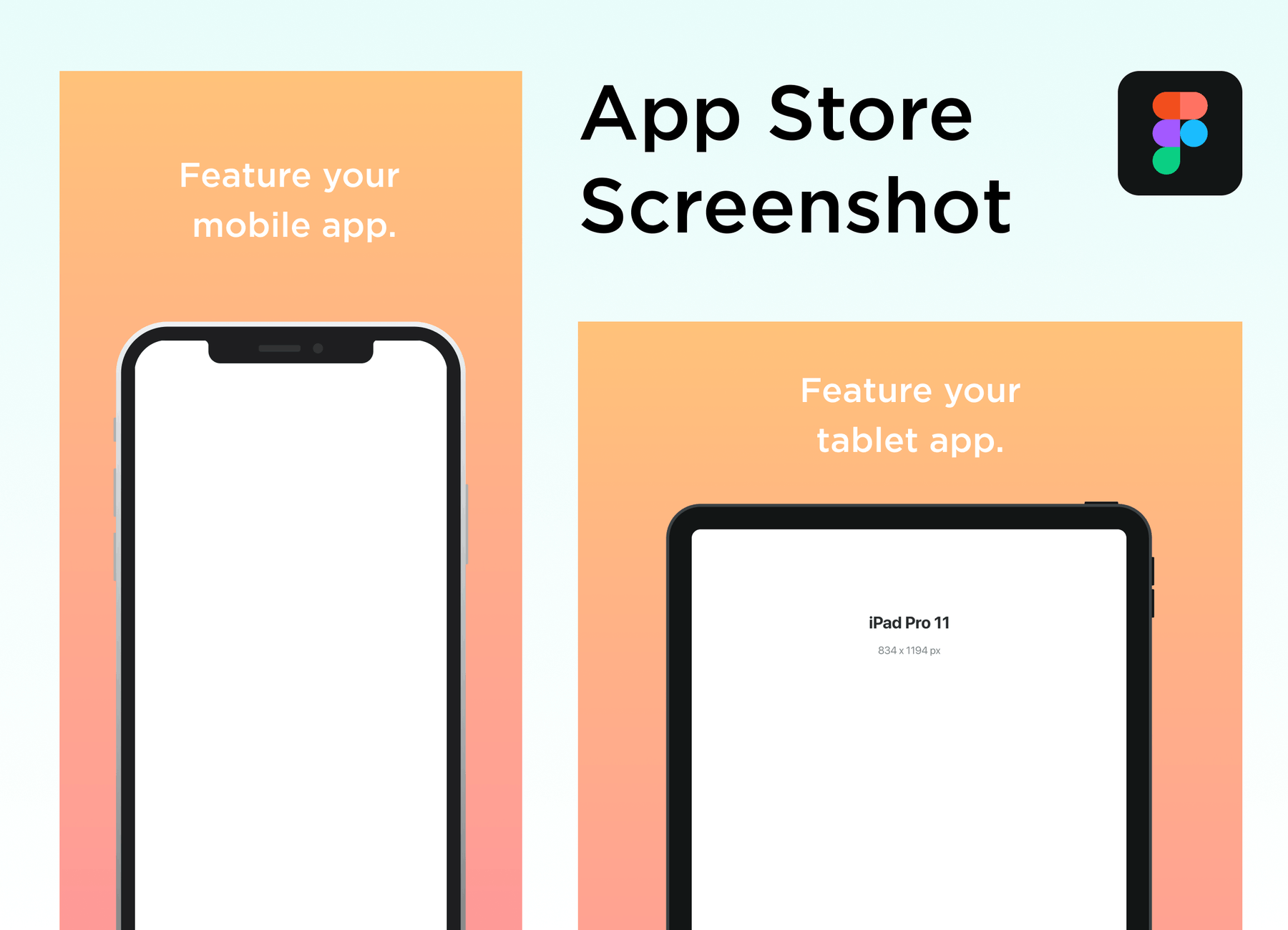 An app store listing appears with blanks for mobile and tablet screenshots.