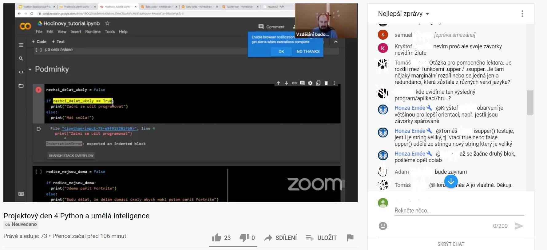Projektový den live stream na Youtube