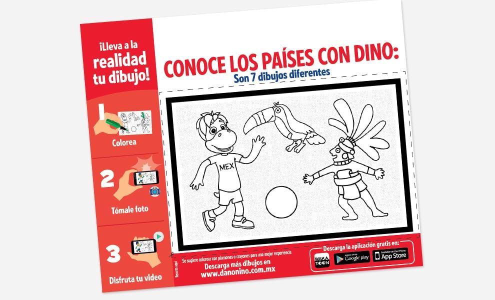 Packaging alimentaire à colorier pour enfants Danonino et Wakatoon