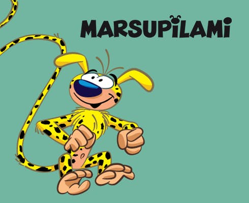 Animated coloring book featuring 8 drawings with the marsupilami