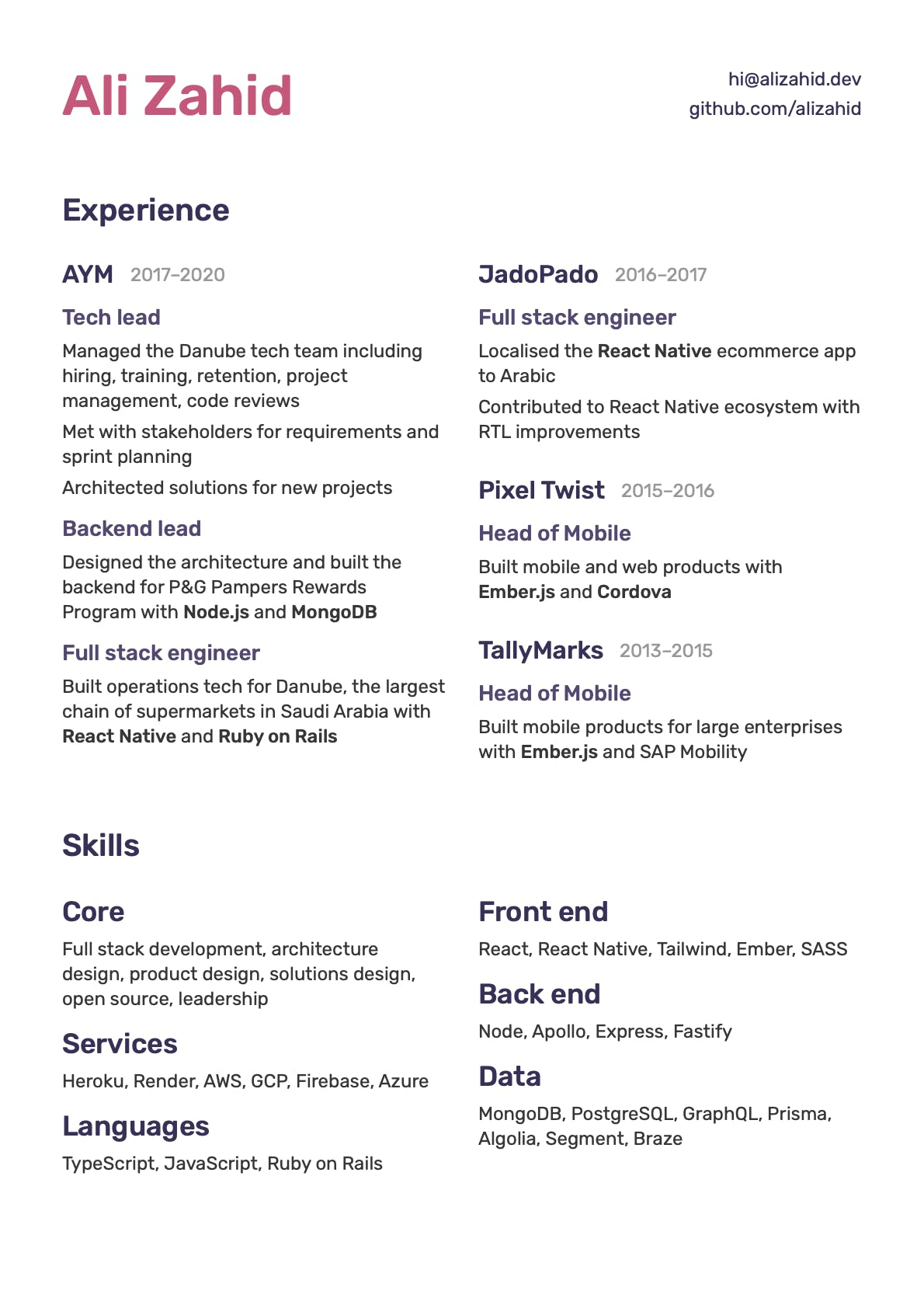 2020 version of resume of Ali Zahid, creator of Resume 5.0.