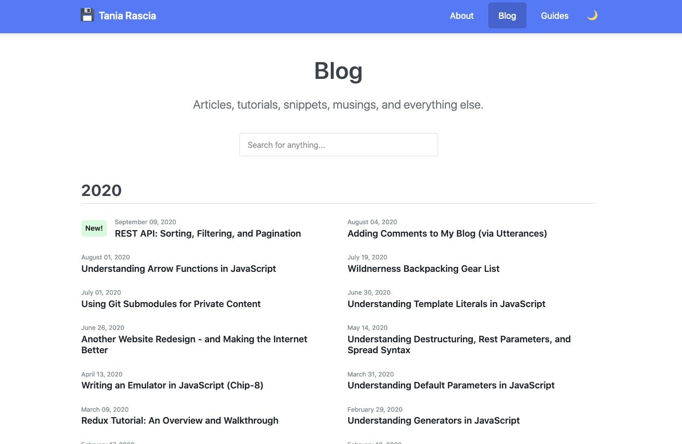 Tania Rascia's blog