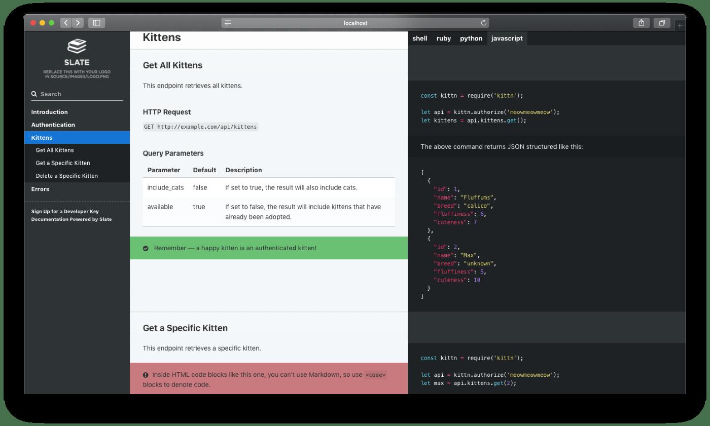 Slate multi language API documenation