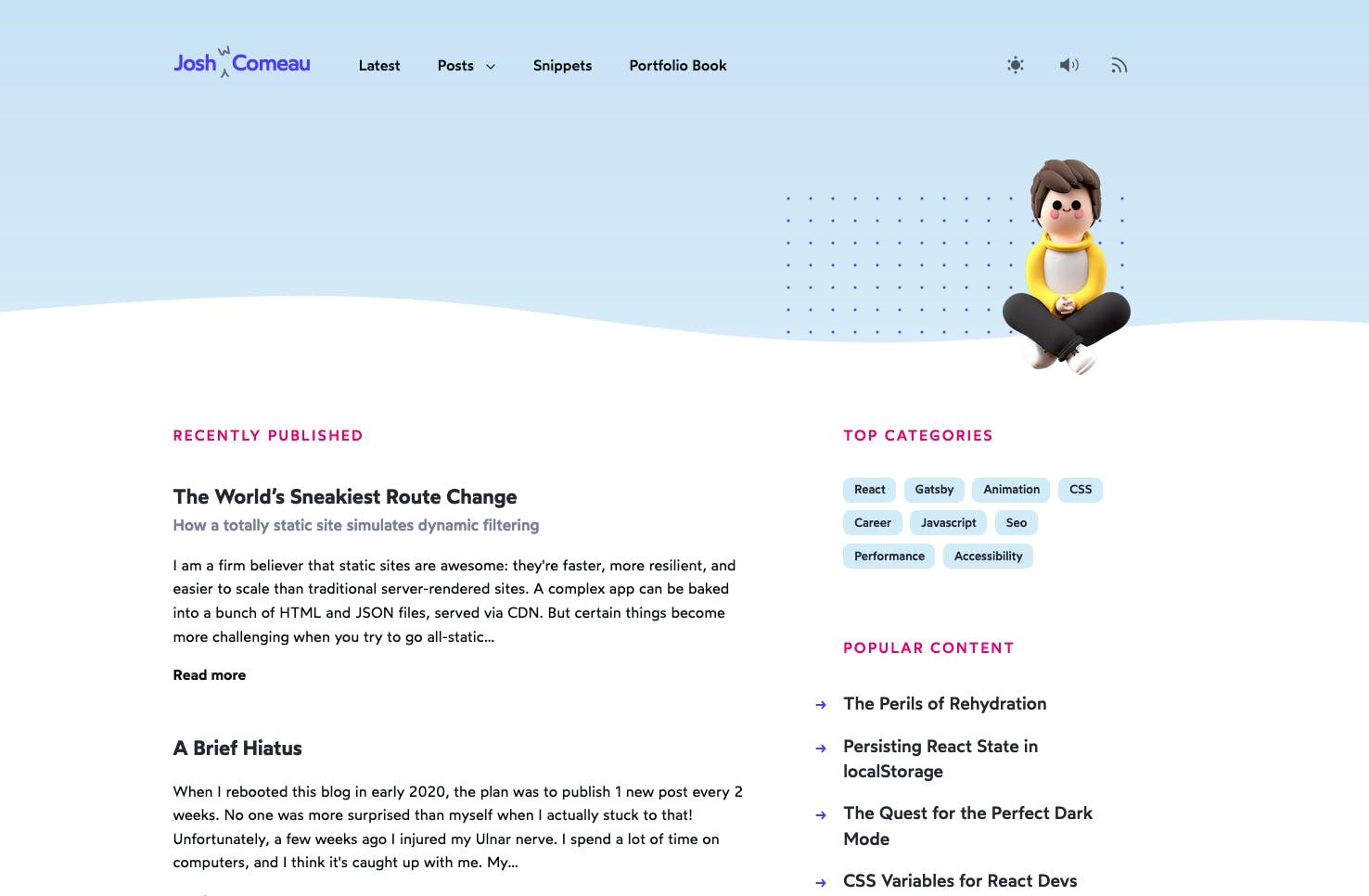 Josh Comeau homepage
