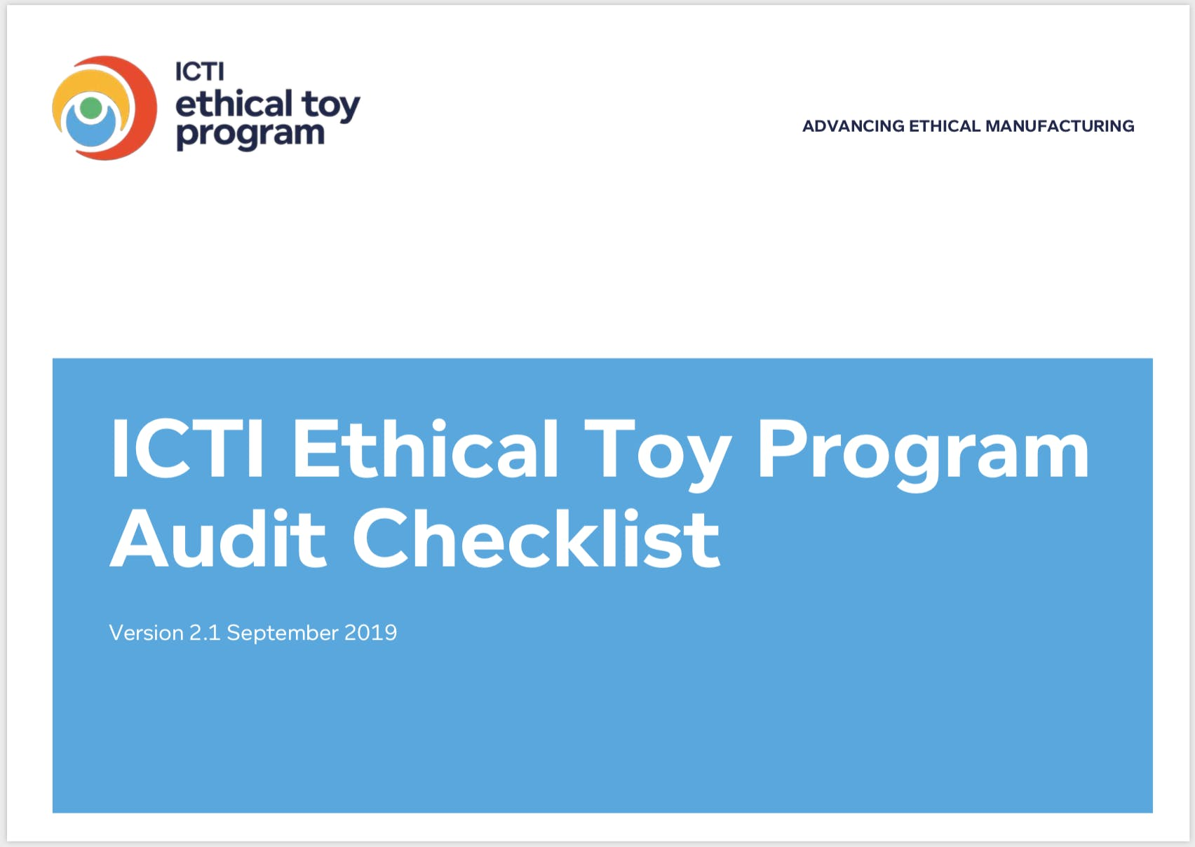 ICTI Ethical Toy Proragm latest Checklist