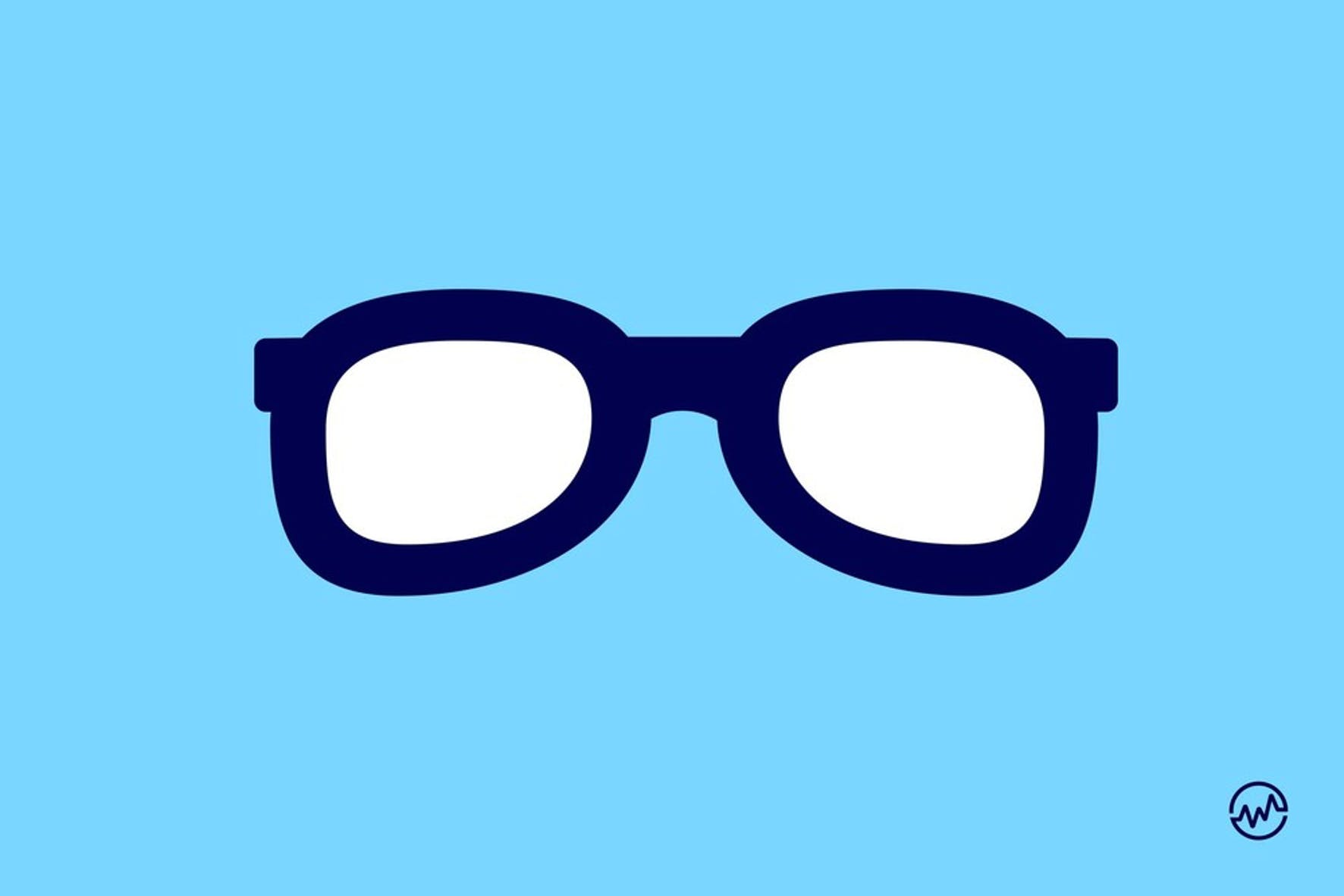 Blue eyeglasses on a blue background